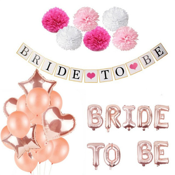 BRIDE TO BE Letter Paper Flower Ball Pull Flag Ornament Bachelorette Party Decorate Suit Aluminum Film Five Pointed Star Balloon 20gxD1