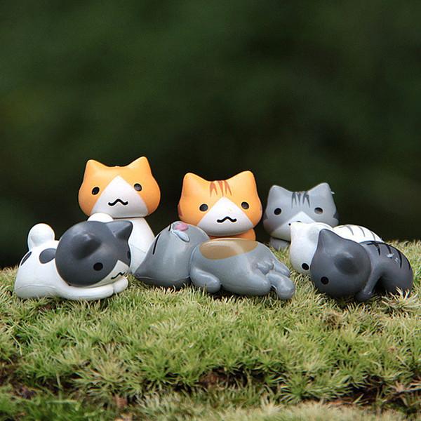 뜨거운 판매 6PCS 핫 재미 등산 고양이 미니 귀여운 인형 가든 미니어처 장식품 유리 모스 상태