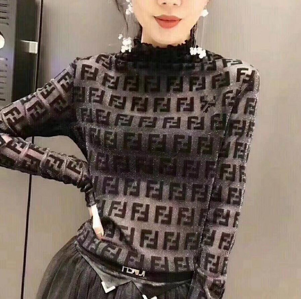 best selling International distinguished women's letter flocking gold and silver mesh yarn long sleeve stretch bottoming shirt turtleneck coat sweatshirt