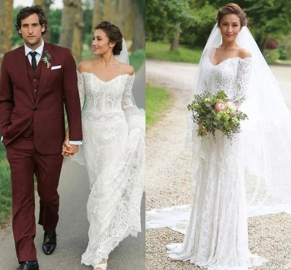 2020 Latest Elegant Off Shoulder Mermaid Wedding Dress Backless Sexy Lace Long Sleeve Bridal Gowns Custom Plus Size Vestidos De Novia