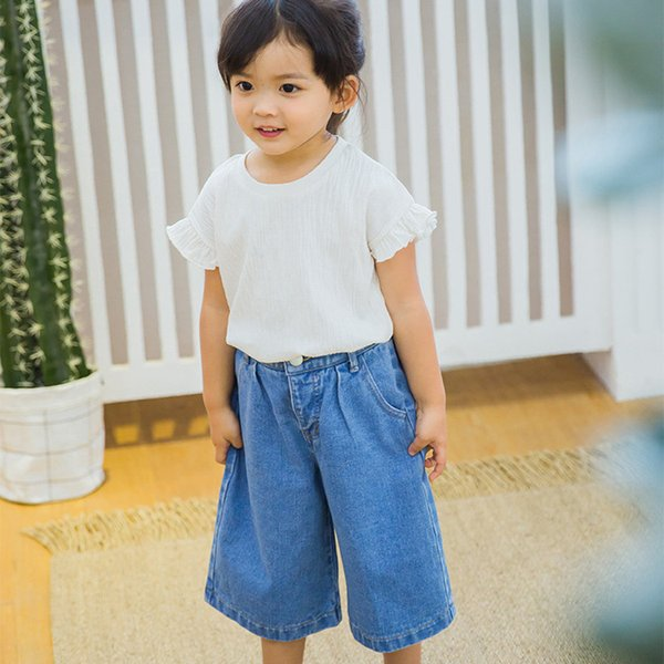 Girls summer casual clothing set kids white pink sleeveless t shirt and denim blue jean set baby loose new fashion clothes 2-7T