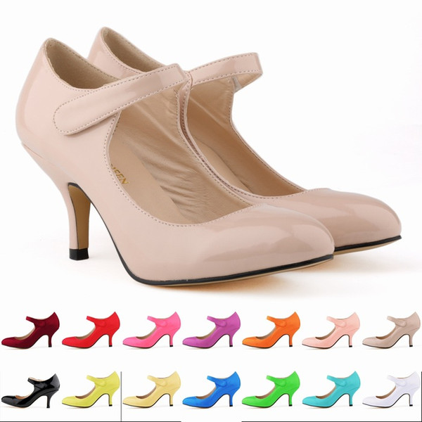 Mary Jane Shoes For Women Patent Leather Stiletto Heel Pumps One word High Heels Pointed Toe Shoesbuckle