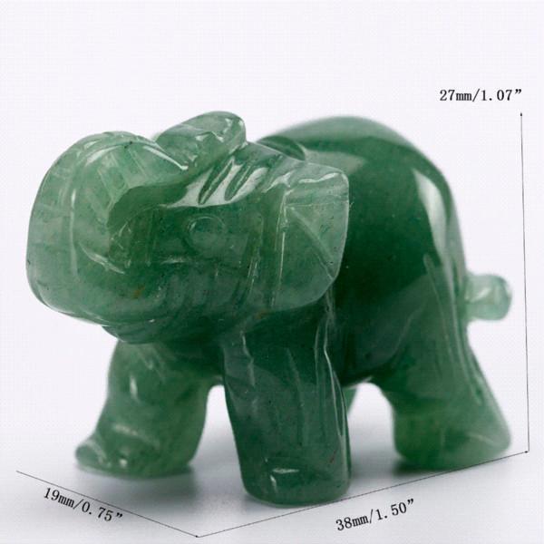 Mini Aventurine Verde Natural 1.5inch Elephant Stone Figurines Artesanato Jades Animais Estátua para Cura Reiki Livre Bolsa