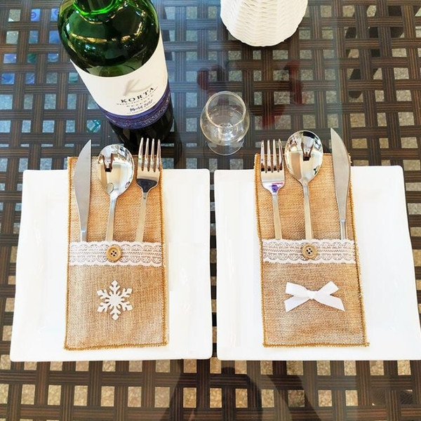 top popular Christmas Decorations Cutlery Bag Linen Utensil Holders Knife Fork Bag Table Candy Bag Christmas Party Wedding Supplies 2019