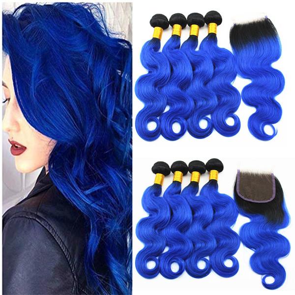 Mavi Renk Vücut Dalga Saç Uzantıları 3 veya 4 Demetleri ile 4x4 Saç Kapatma Ücretsiz Bölüm Brezilyalı 100% Virgin İnsan Saç Örgüleri 10-18 inç
