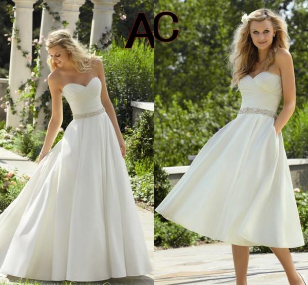 La robe de mariée de mariée sur mesure longue queue 2019 avec blanc avant court et longue poitrine-essuyer la robe de mariage incrusté de diamant de la mariée