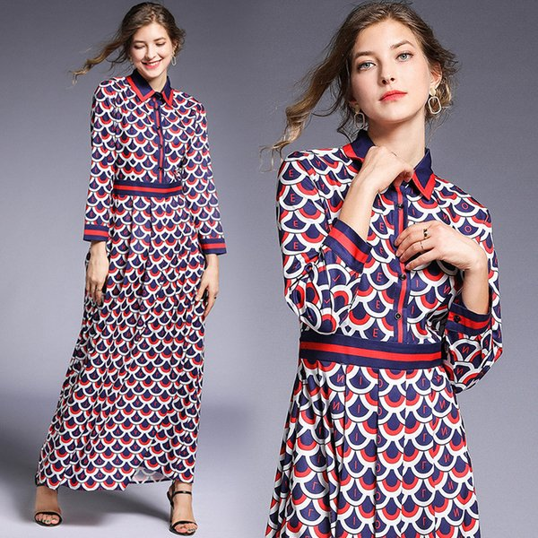 Großhandel 2019 Frühling Sommer Herbst Runway Vintage Chic Geometric Print Kragen Langarm Reich Taille Frauen Damen Casual A-Line Maxi-Kleid