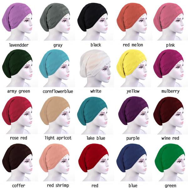 YMA104 Мусульманин Женщины Головной платок Хлопок Underscarf Stretch Хиджаб Обложка Headwrap Underscarf Cap Шаль Ислам Шарф Внутренняя повязка на голову Капот