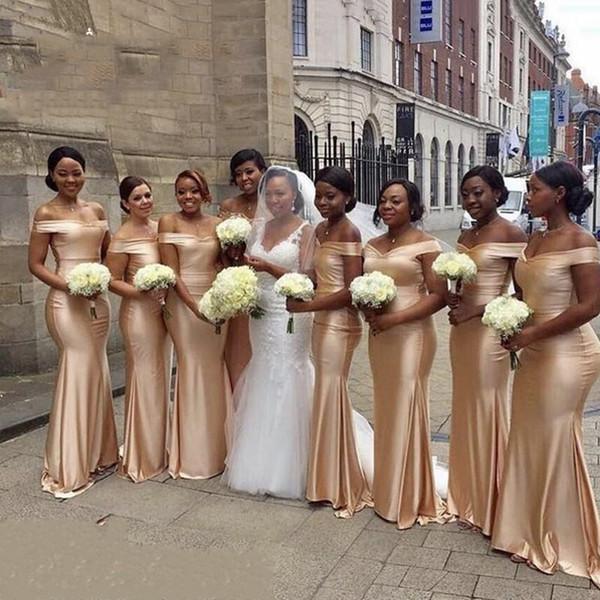 African Gold Bridesmaid Dresses Mermaid Off The Shoulder Satin Ruffles Floor Length Wedding Guest Maid Of Honor Dresses DB116