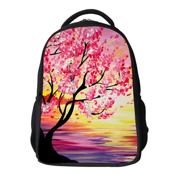 "Girls cherry blossom Backpack Kids 16"" Oxford Flower School Bag Japanese Lanscape Painting Rucksack Casual Daypack for teenagers"