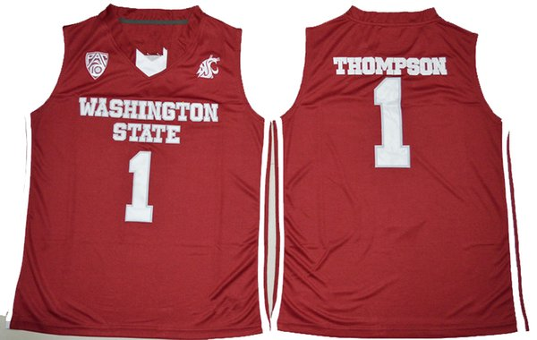2019 NEW 1 Klay NCAA Thompson Washington Cougars College Basketball Jersey Embroidery Stitched red S-XXL for men