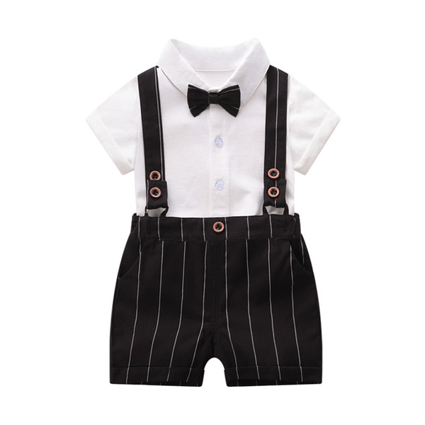 Ins new boys suits baby suits newborn outfits Summer newborn baby boy clothes shirt+ suspender shorts 2pcs cotton boys clothing sets A6321