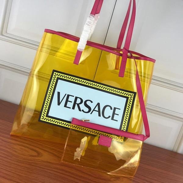 Личность Transparent сумка Мода ПВХ два частей Набора сумки письмо Печатных Повседневная сумка для хранения сумки Женщины