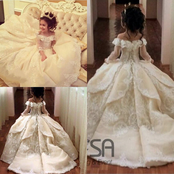 best selling 2019 Vintage Princess Flower Girls Dresses Lace Off-shoulder Special Occasion For Weddings Ball Gown Kids Pageant Gowns Communion Dresses