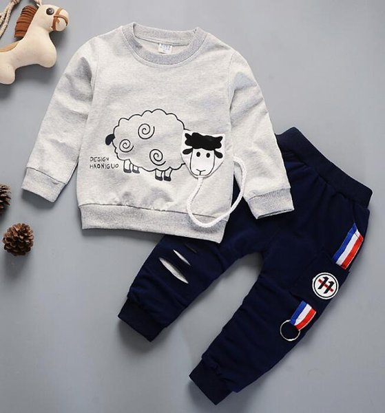 Boy's Spring Suit Spring and Autumn New Cotton Baby's Long Sleeve Sanitary Clothing Two-piece Suit Factory Direct Selling