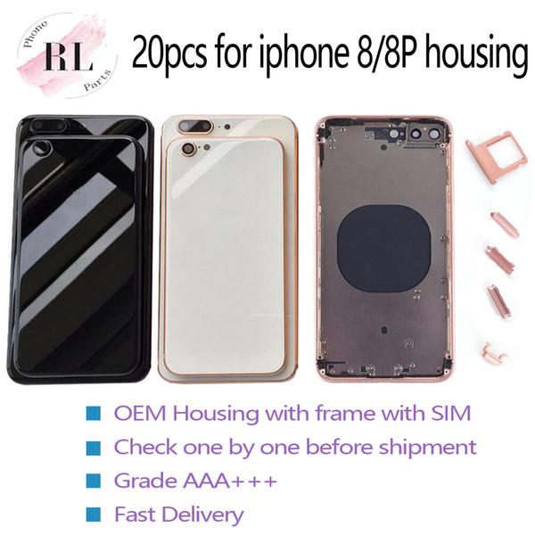 20PCS calidad OEM para iPhone cubierta del alojamiento del conjunto del chasis 8plus 8 8g para la batería puerta con cristal marco de respaldo