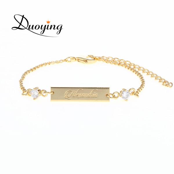 DUOYING Kristall Baby Armband Gold Farbe 25 * 6 mm Bar personalisierte benutzerdefinierten Namen graviert Armband Graduierung Geschenk Schmuck für Etsy