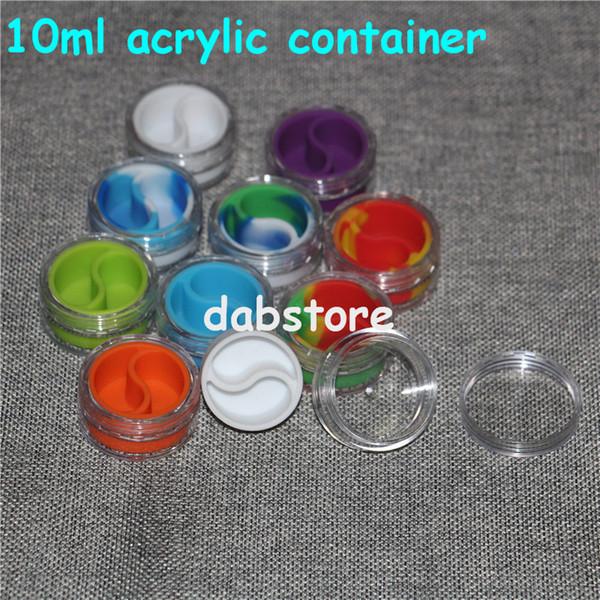 récipients en silicone acrylique wholesale10ml avec le bouclier acrylique clair conteneur antiadhésif pour la cire d'huile dabs slick jars libre titulaire de narguilé gel