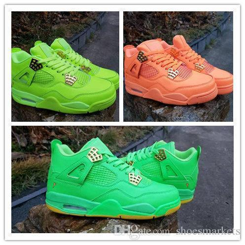 Designer Chaussures Nouveau 4 Armée Vert Orange 4s Faible Hommes Chaussure De Basket-ball Sport Baskets En Plein Air Baskets Haute Qualité Taille 8-13