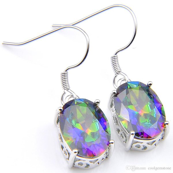 Luckyshine Latest Christmas Day 2pieces/lot 925 silver plated Delicate round Mystic topaz crystal Earring jewelry free shipping