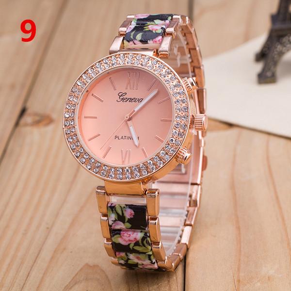 Aleación popular de Ginebra Reloj de doble fila de diamantes de flores Impreso Ginebra Relojes para damas Casual Garden Beauty Blossom Bracelet Watch