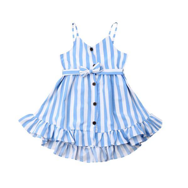 Sommer Kinder Baby Mädchen Kleid ärmellose Streifen Knopf Kleid Freizeitkleidung Set
