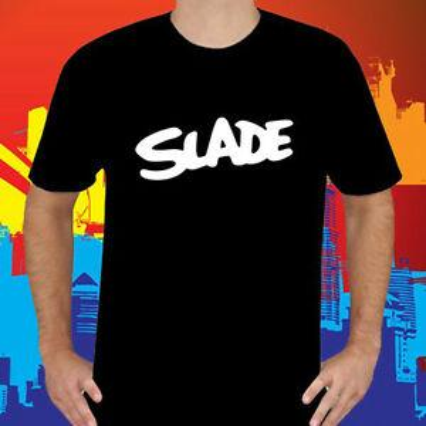 Nuevo logotipo de SLADE Camiseta de cuello redondo con cuello redondo de BandO-Neck Band para hombre Talla S a 3XL