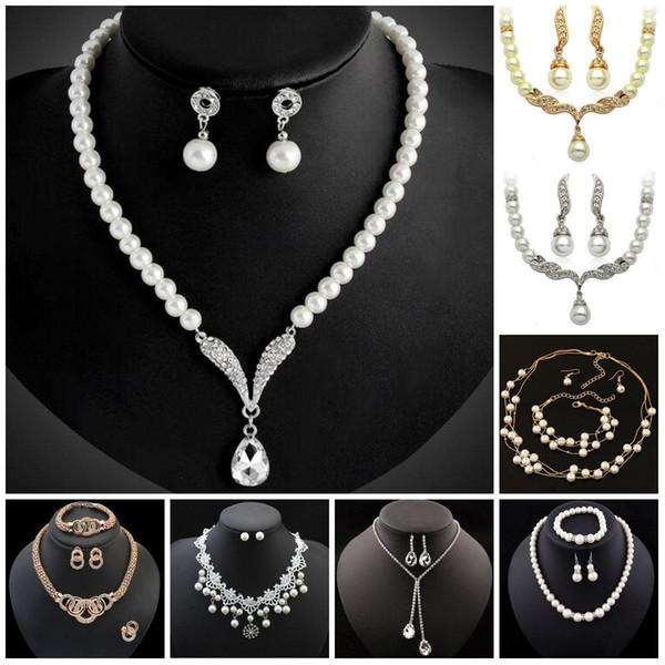Gioielli Set damigella d'onore per Pearl collana dei monili di cristallo da sposa strass Tear Drop a forma di ciondoli I monili orecchino di partito