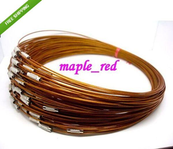 100pcs cable de alambre de memoria marrón encantos de cadena de acero collares 18
