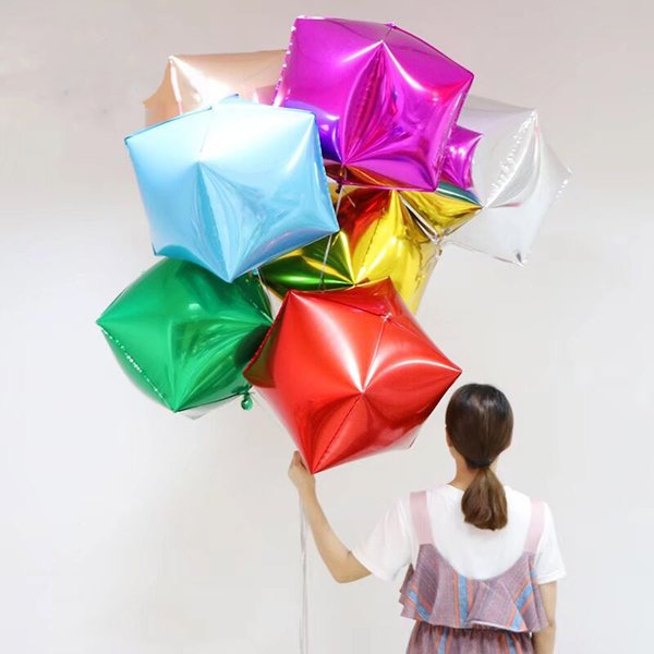 20pcs/lot 40*40*40CM Cube Foil Balloons Four Square Rose Gold Red Christmas New Years Party Gifts Box Helium Balloon Decoration