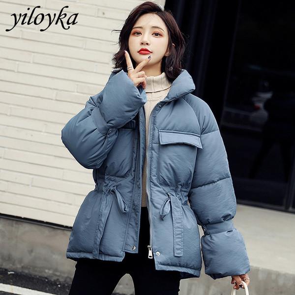 warm stand collar parka breasted female coat winter women jacket outwear jackets autumn cotton padded adjustable waist parkas