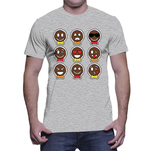 Ícones De Gengibre De Natal-Santa Cookie Xmas Emoji Férias Mens T-Shirt Da Marca camisas jeans impressão