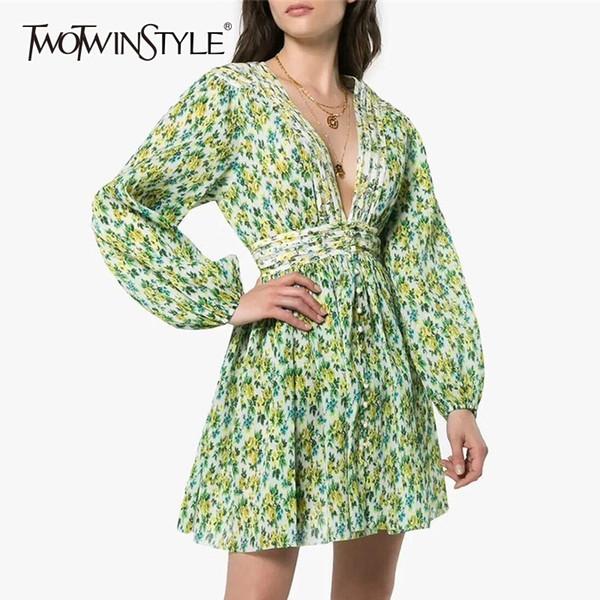 Twotwinstyle Vestido Estampado Mulheres V-seção Cintura Alta Túnicas Laters Longarm Mini Vestidos Mulheres 2019 Primavera Late Fashion New Y19070901