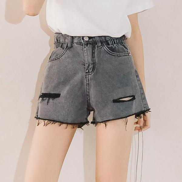 Bf Vento donne irregolari dei capelli del bordo del denim del foro Pantaloncini estate femminile Retro allentato Outer Wear gamba larga Hot Pants Tide