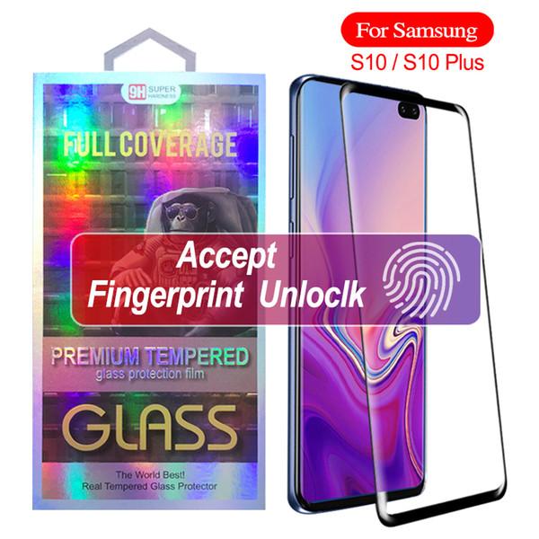 Estuche para vidrio templado 3D curvo de tamaño moderado para Samsung Galaxy S9 Plus S10 s10 Plus Protector de pantalla con caja al por menor