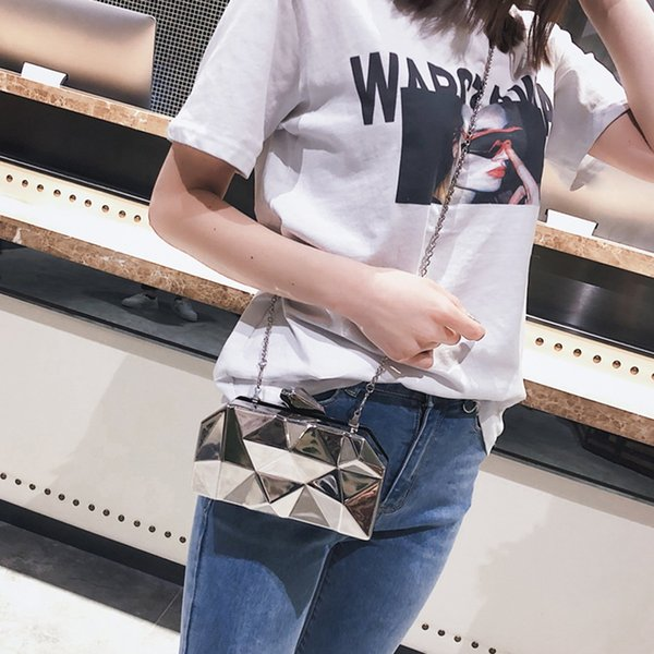 Fashion Geometric Women Handbags Metal High Quality Hexagon Clutches Mini Party Black Evening Purse Silver Bags Gold Box Clutch #274836