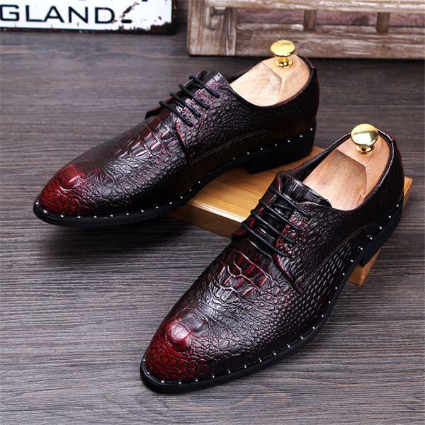 Crocodile Grain Pour Hommes En Cuir Véritable Chaussures Habillées De Mode Homme Pointe Toe Décontractée Fête De Mariage Oxfords Mens Hommes Lac-Up Business Flats