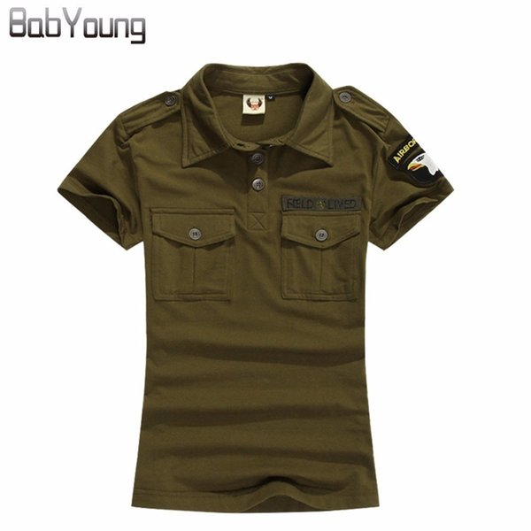 Babyoung Summer Casual Polo Women Tops Camouflage Army Green Cotton Shirts Polo Femme Polos Mujer Short Sleeve Shirt Black Q190426