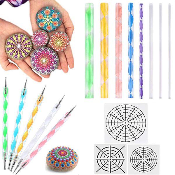 Mandala Pontilhando Kit de Ferramentas de Rock Stencils Pintura Embossing Starter Desenho Stylus Canetas Pontilhando Varas Kid Craft DIY Wall Art