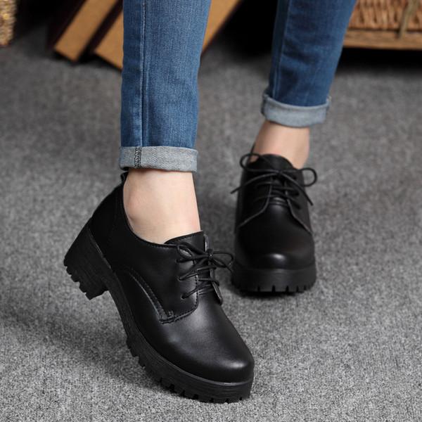 Primavera / inverno estilo britânico mulheres de couro de divisão sapatos de salto quadrado plataforma plana sapatos mulher lace-up sapatos oxford para