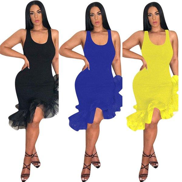 Summer Women Ruffles Dress Irregular Organza Fishtail Hem Sleeveless Strap Dress Mid-calf Length Party Club Sexy Vest Skirt C425