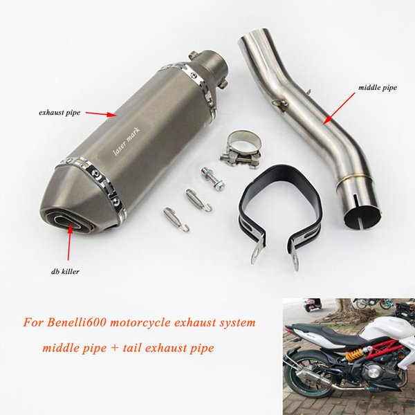 for Benelli600 tnt600 Motorcycle Non-destructive installation 51mm Middle Connecting Pipe With Tail Exhaust Muffler Tip Tubes
