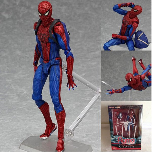 Boys gift 1pcs Cool Spiderman The Amazing Spiderman Figma 199 PVC Action Figure Collectible Model Toy for kids gift 15cm
