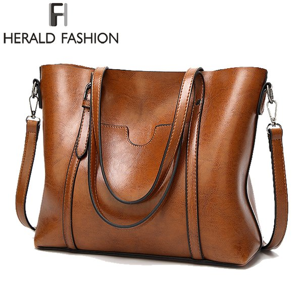 Herald Fashion Large Capacity Women Tote Bag High Quality Leather Female Shoulder Bag Causal Women Handbag Lady's Messenger Bags MX190716