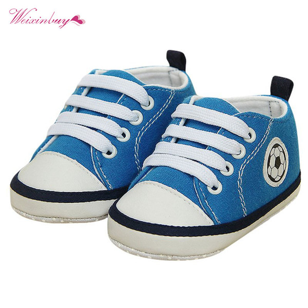 Spring Summer Toddler Baby Girls Boys Football Print Soft Crib Shoes Non-slip Sneakers Prewalkers Cloth Shoes