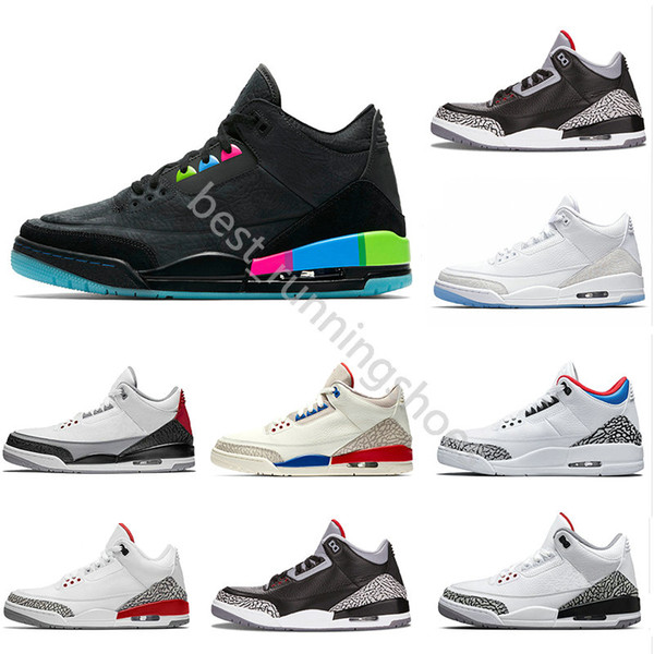 2018 Quai 54 International Flight Pure White 3s Men Basketball Shoes 3 Cement retros Fire Red JTH Tinker Blue retro Grey Trainers Sneakers