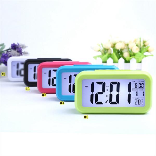 Smart Sensor Nightlight Digital despertador com calendário termômetro de temperatura, silencioso Desk relógio de mesa de cabeceira Despertar Snooze MMA2079