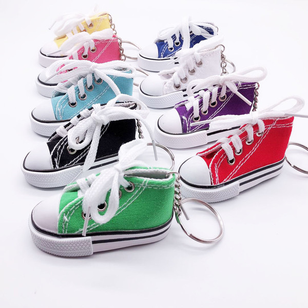 best selling Mini Canvas Shoes Sneaker Tennis Keychain Creative Key Ring Chain Simulation Sport Shoes Funny Keyring Pendant Gift