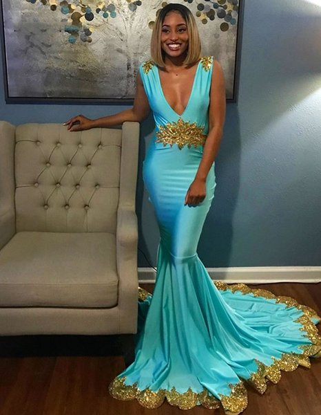 Бирюзовое платье выпускного вечера с золотыми аппликациями Блестки Русалка Вечерние V-образным вырезом Длинные платья для вечеринок для женщин vestido gala largo