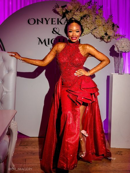 Sexy Red Long Sleeves Mermaid Evening Dresses Luxury Shinny High Neck Side Split Prom Dress African Black Girl Formal Party Pageant Gown